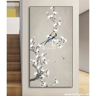 Tranh đôi  chim trên cành hoa-DLV-230