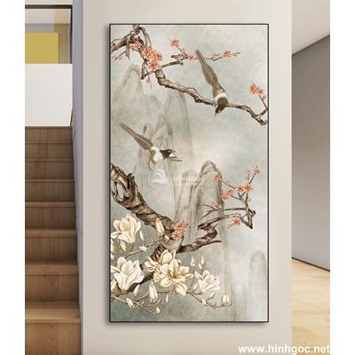 Tranh đôi  chim trên cành hoa-DLV-232