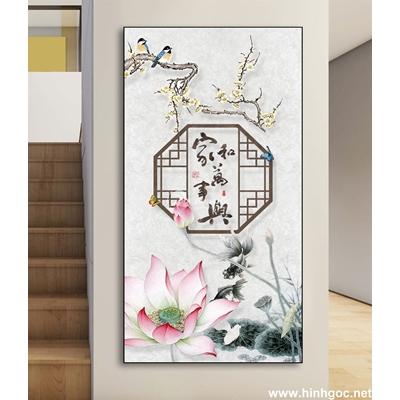 Tranh trang trí bông hoa và đàn chim-DLV-235