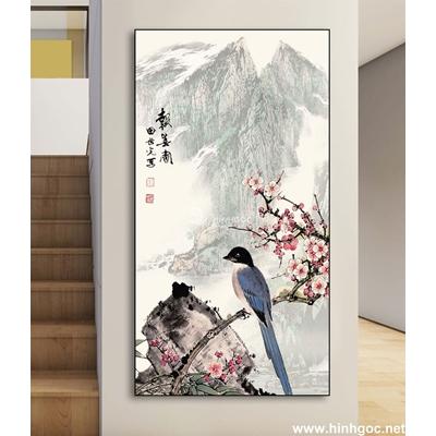 Tranh chim đậu cành hoa mai-DLV-245