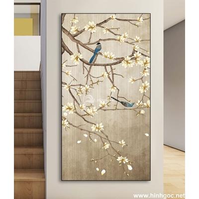 Tranh hoa và đàn chim-DLV-248