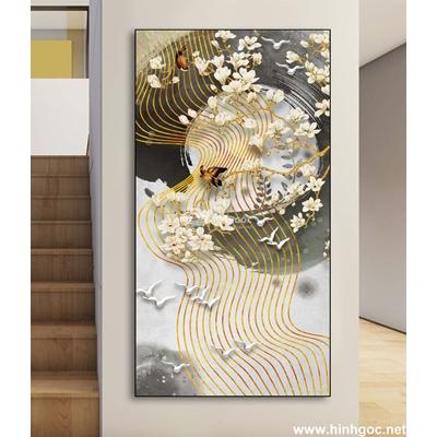 Tranh trang trí bông hoa và đàn chim-DLV-249