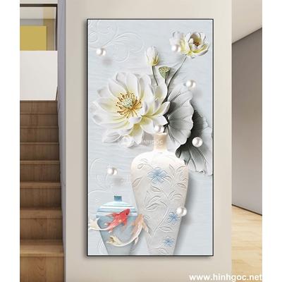 Tranh 3D Bình hoa-DLV-25