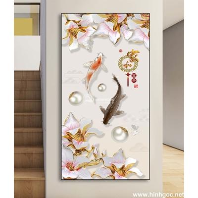 Tranh trang trí cá vàng và hoa-DLV-260