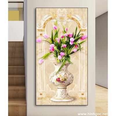 Tranh 3D bình hoa tuylip-DLV-279