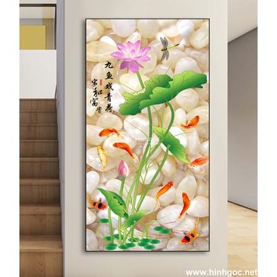 Tranh hoa sen và đàn cá-DLV-281