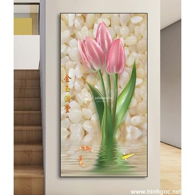 Tranh 3D bình hoa tuylip-DLV-282