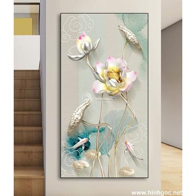 Mẫu tranh hoa sen trắng-DLV-87