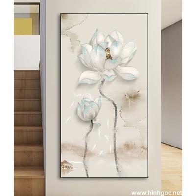 Mẫu tranh hoa sen trắng đẹp-DLV-89