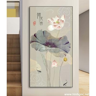 Bức tranh hoa sen và cá vàng-DLV-90