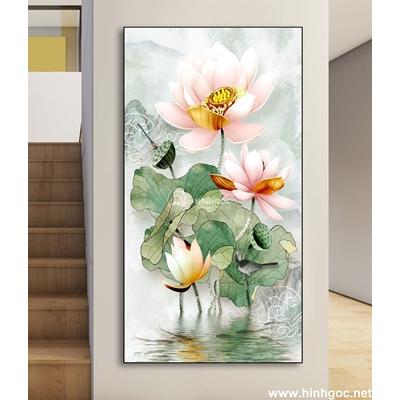 Tranh hoa sen nở đẹp-DLV-92