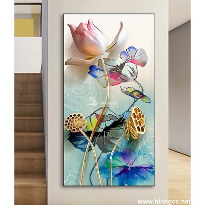 Tranh 3D bình hoa nở-DLV-93