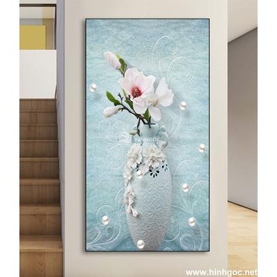 Tranh 3D bình hoa nở đẹp-DLV-94