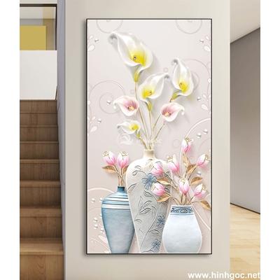 Tranh bình hoa trắng-DLV-98