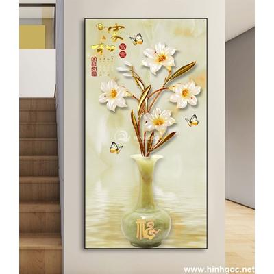 Tranh đơn bình hoa đẹp-DLV-99