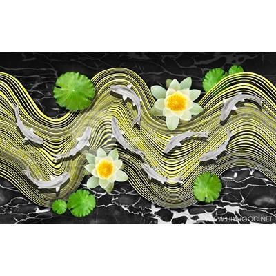 Tranh đàn cá và hoa sen trắng - DTT030