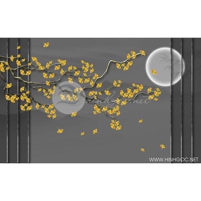 Tranh cây lá vàng dưới trăng - DTT065