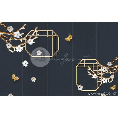 Tranh hoa trắng và đàn bướm - DTT084