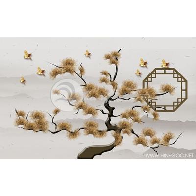 Tranh cây lá vàng kim - DTT086