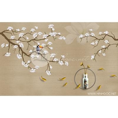 Tranh chim vẹt và cành hoa trắng - DTT089