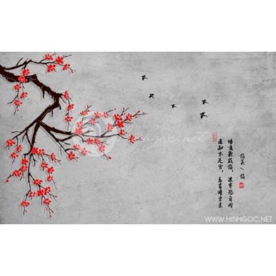 Tranh hoa đào đỏ - DTT096