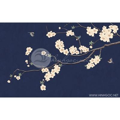 Tranh hoa trắng nền xanh - DTT098