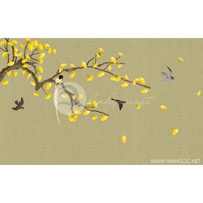 Tranh cây lá vàng và đàn chim nền xám - DTT102