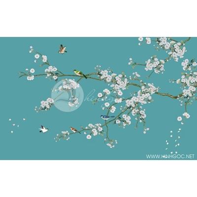 Tranh cây hoa trắng và đàn chim nền xanh - DTT103