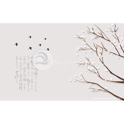 Tranh cây hoa trắng và đàn chim di cư - DTT105