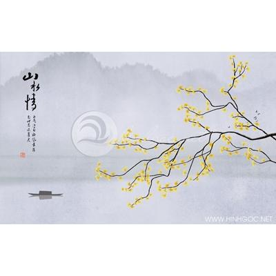 Tranh cây lá vàng và con thuyền - DTT107