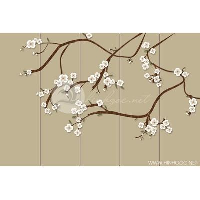 Tranh hoa trắng nền vàng - DTT118