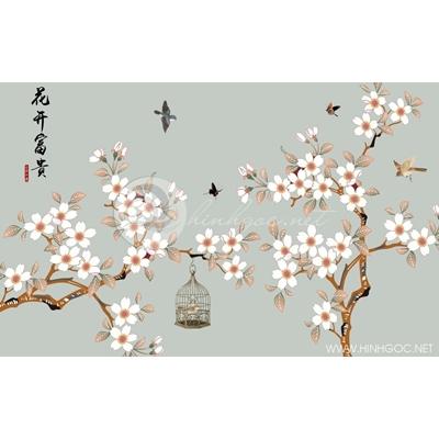 Tranh hoa trắng và chú chim trong lồng - DTT120