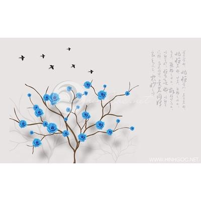 Tranh hoa hồng xanh - DTT140