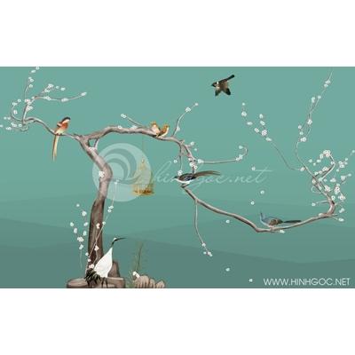 Tranh hoa trắng nhí và lồng chim - DTT150