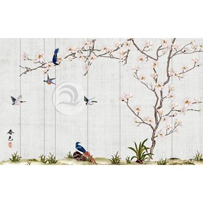 Tranh đàn chim trên cây hoa trắng - DTT158