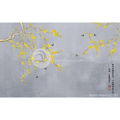 Tranh hoa mai vàng và đàn bướm - DTT162
