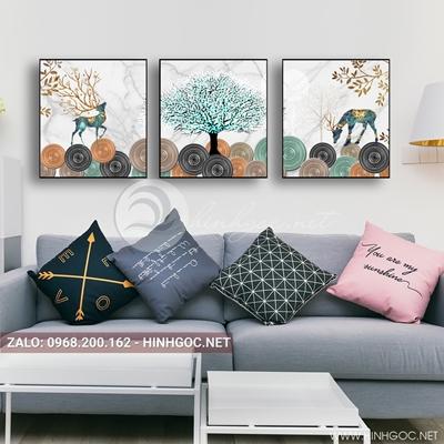 Tranh treo tường, bộ 3 bức đôi hươu và cây tuần lộc-E-050