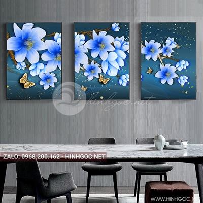 Tranh treo tường, bộ 3 ghép hoa tím đang nở-E-061
