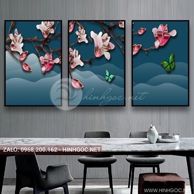 Tranh treo tường, bộ 3 ghép hoa đang nở và con bướm xinh-E-063