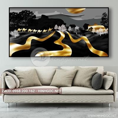 Tranh treo tường, con đà điểu va dải vân vàng-E-196