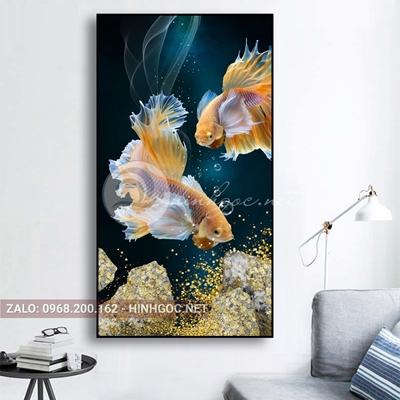 Tranh cá chọi, đôi cá vàng vui vẻ-E-361
