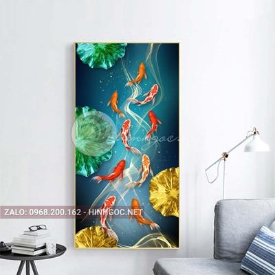 Tranh cá chép và hoa sen-E-362