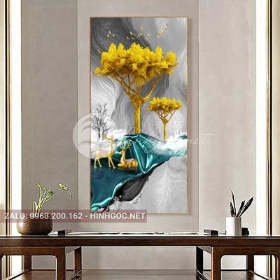 Tranh treo tường, đôi hươu tỏ tình trên dải vân xanh nghệ thuật-E-403