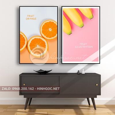 Tranh ẩm thực, bộ 2 bức, quả chuối và cam-E-480