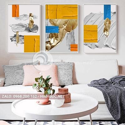Tranh trừu tường, bộ 3 bức, hình line art vàng-E-510