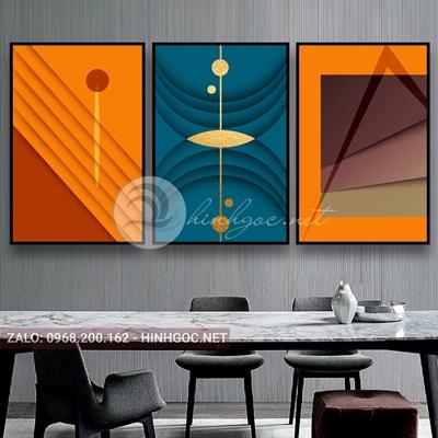 Tranh trừu tượng, bộ 3 bức, line art nhiều màu-E-524