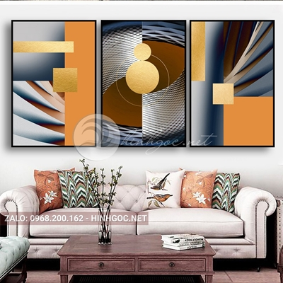 Tranh trừu tượng, bộ 3 bức, line art nhiều màu đẹp-E-525