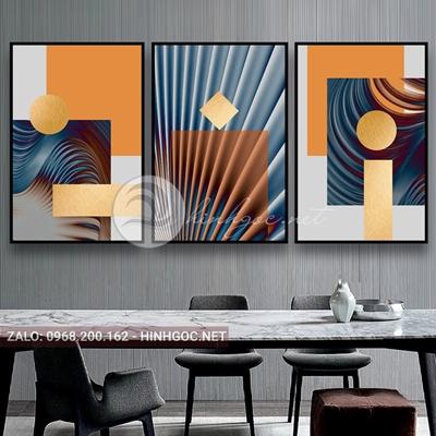 Tranh trừu tượng, bộ 3 bức, line art nhiều màu đẹp-E-526