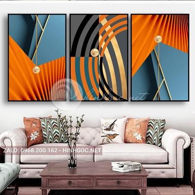 Tranh trừu tượng, bộ 3 bức, line art và quả cầu tròn-E-527