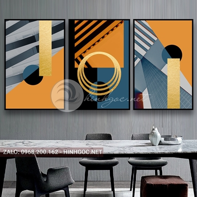 Tranh trừu tượng, bộ 3 bức, line art và vòng xoắn tròn-E-529